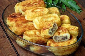 Картофельные зразы с мясным фаршем и грибамиКартофельные зразы с мясным фаршем и грибами